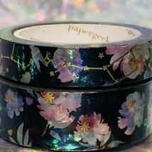 SEALED Papergeek Paper Geek 2x Black Floral Constellation Washi Tape 33' Each image 1