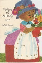 Vintage Mother's Day Card Dressed Bear in Apron and Bonnet American Gree... - $7.91