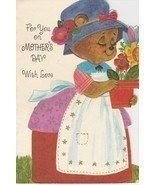 Vintage Mother's Day Card Dressed Bear in Apron and Bonnet American Greetings - $7.91