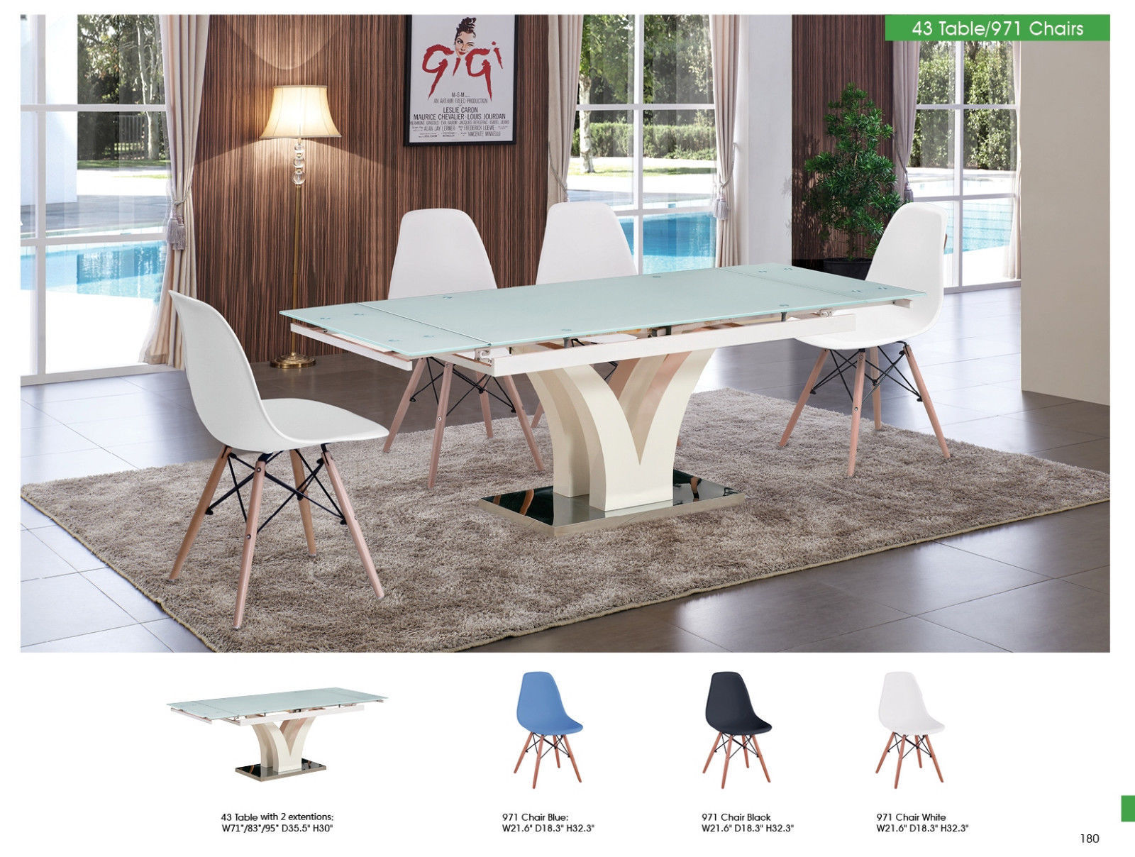 ESF 43 Table and 971 Side Chairs Dining Room Set 5pc. White Modern Formal Style