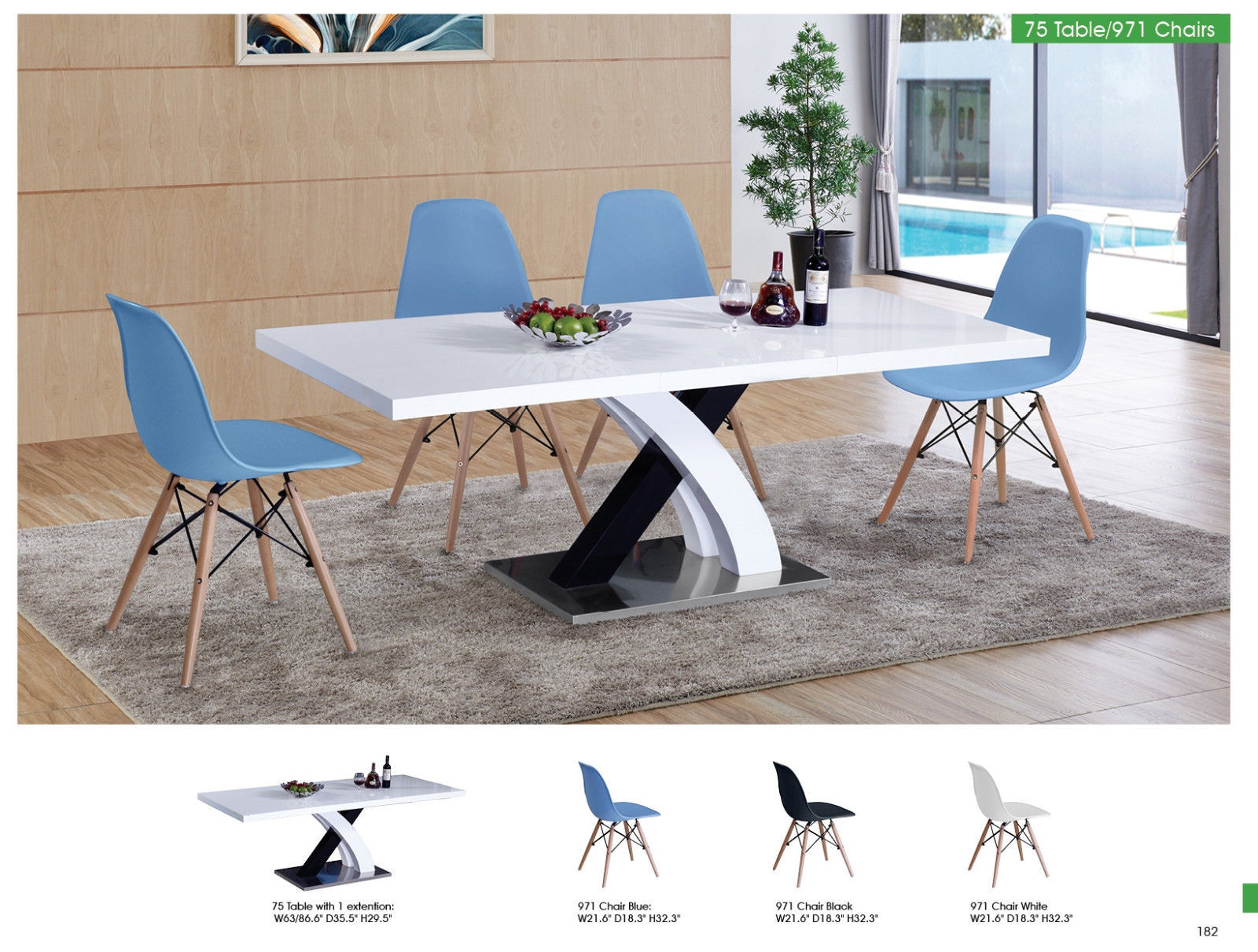 ESF 75 Table and 971 Side Chairs Dining Room Set 5pc. Blue Modern Casual Style
