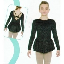 Mondor Model 2909 Girls Skating Dress Black Glitter Size Child 6x-7 - $55.00