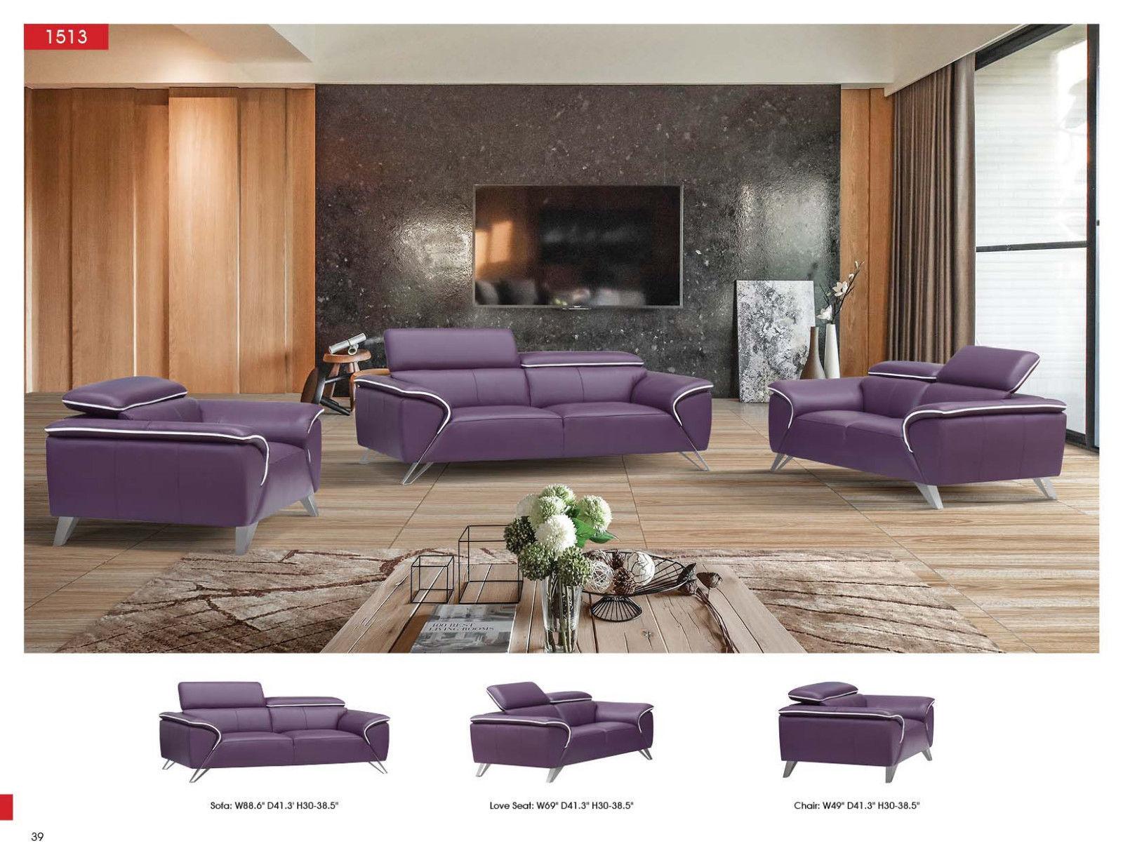 ESF 1513 Italian Half Leather Living Room Sofa Set 3pc. Purple Modern Style