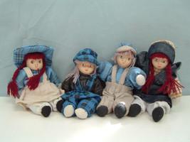 Vintage set of 4  little   country farm dolls bean bag body porcelain face - $15.43