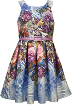 Bonnie Jean Little Girl 2T-6X Blue Belted Scuba Knit Fit Flare Social Dress