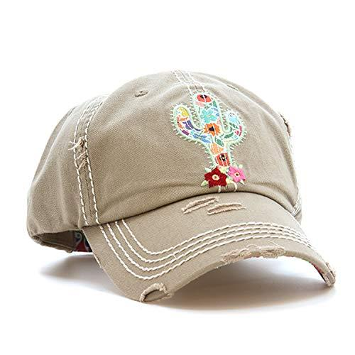 Distressed Vintage Style Floral Cactus Cap Baseball Hat (Tan Brown)
