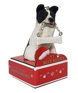 E&S Pets Border Collie Statue with Bone Christmas Ornament on Red Cardbo... - $12.99