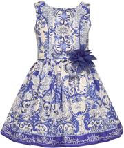 Bonnie Jean Little Girl 2T-6X Royal Blue White Moroccan Print Social Dress
