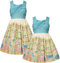 Bonnie Jean Girls 2T-6X Turquoise-Blue Crossover Beach Scene Border Print Dress