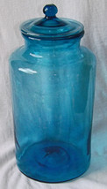 19th/20th Century Large Tapered Form, Blown Blue Glass Apothecary Jar 13... - $999.99