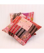 2-INDIAN-CUSHION-COVER-PILLOW-CASE-KANTHA-WORK-FLORAL- - $14.00