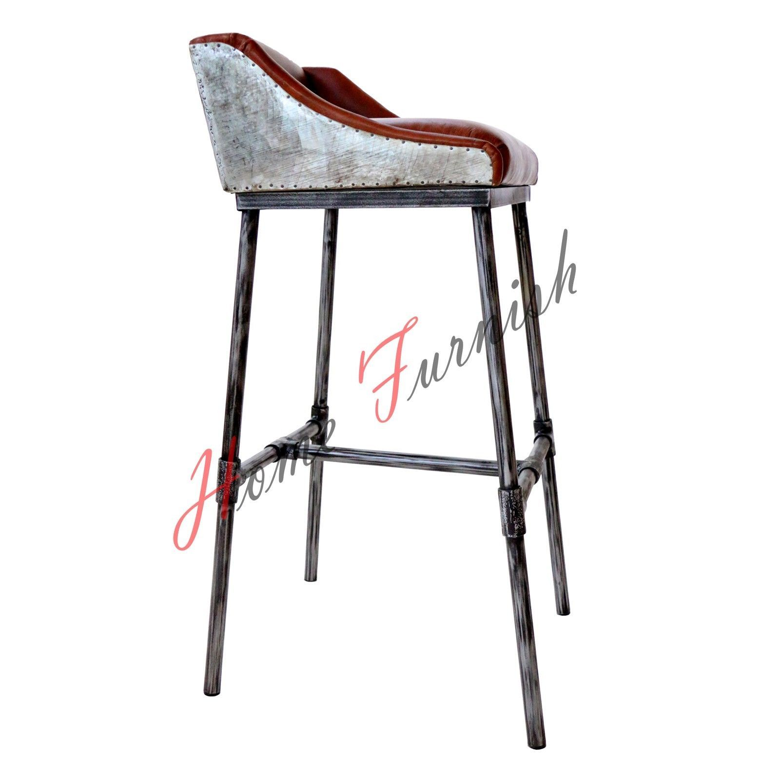 Iron scaffold leather stool ndustrial bar counter stool for Counter stools