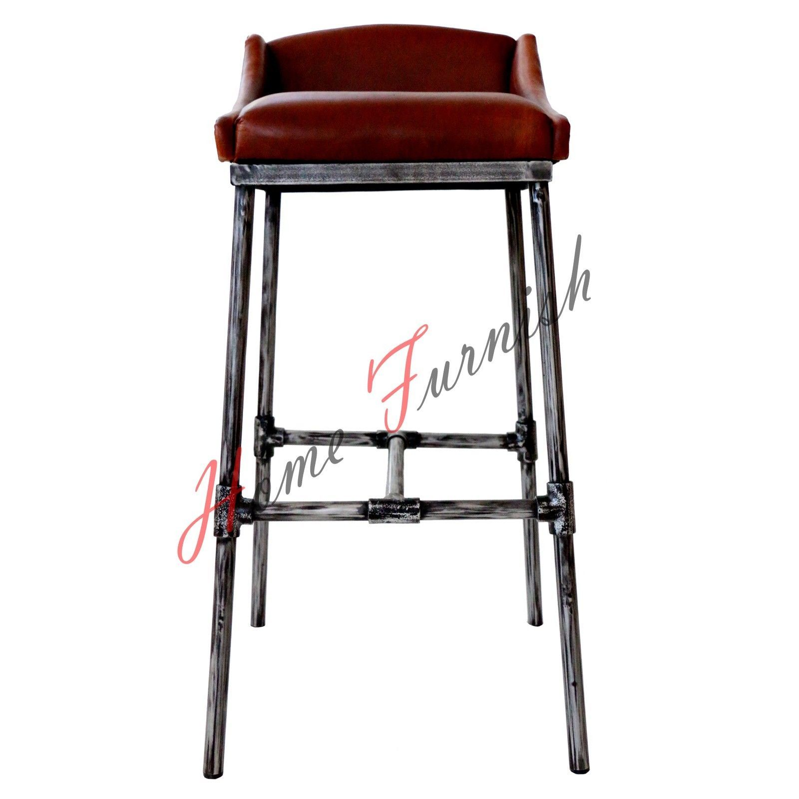 Iron Scaffold Leather Stool Ndustrial Bar Counter Stool