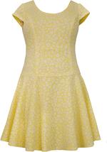 Bonnie Jean Little Girls 2T-6X Yellow White Leopard Print Drop Waist Knit Dress