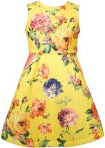 Bonnie Jean Little Girls 2T-6X Yellow Bold Floral Print Fit Flare Social Dress