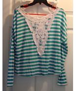 Juniors size Medium Turquoise White Striped Lon... - $14.99