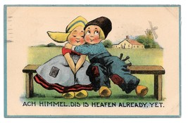 Dutch Kids Ach Himmel Dis is Heafen Already Boy Hugging Girl Vintage Pos... - $5.99