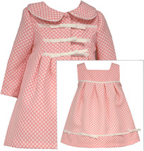 Bonnie Jean Baby Girls 3M-24M Coral White Polka Dot Jacquard Dress/Coat Set