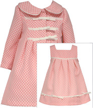 Bonnie Jean Little Girls 2T-6X Coral White Polka Dot Jacquard Dress/Coat Set