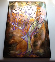 "Metal Wall Art Canvas Sketched Tree  Metal Art Lit 16"" x 11"" - $42.56"