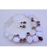 Mother Of Pearl-Smoky Silver Overlay Handmade Jewelry Necklace  F-211 - $49.28