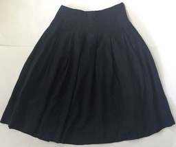 Black Pleated Linen Full Skirt Size 8 Lined Goth Costume Unique 6 4 Edward - $14.84