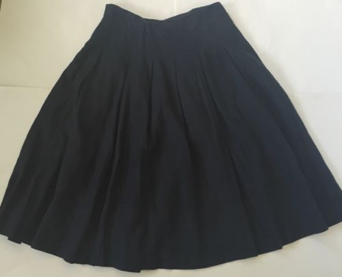 Black Pleated Linen Full Skirt Size 8 Lined Goth Costume Unique 6 4 Edward