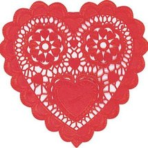 Red Heart Shaped 3 1/2in Doilies 28ct - $5.95