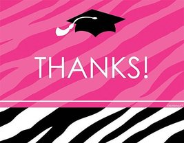 Zebra Graduation Party Thank You Notes Package of 50 - $16.50