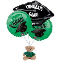 Graduation Green Balloon Bouquet with Bear - $16.99