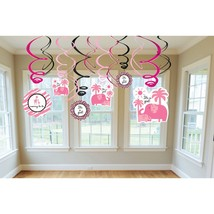 Amscan Sweet Safari Girl Swirl Value Pack Baby Shower Party Decorations ... - $7.99