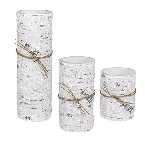 Grasslands Road LED Birch Candle With Remote Control Set Of 3, 472135