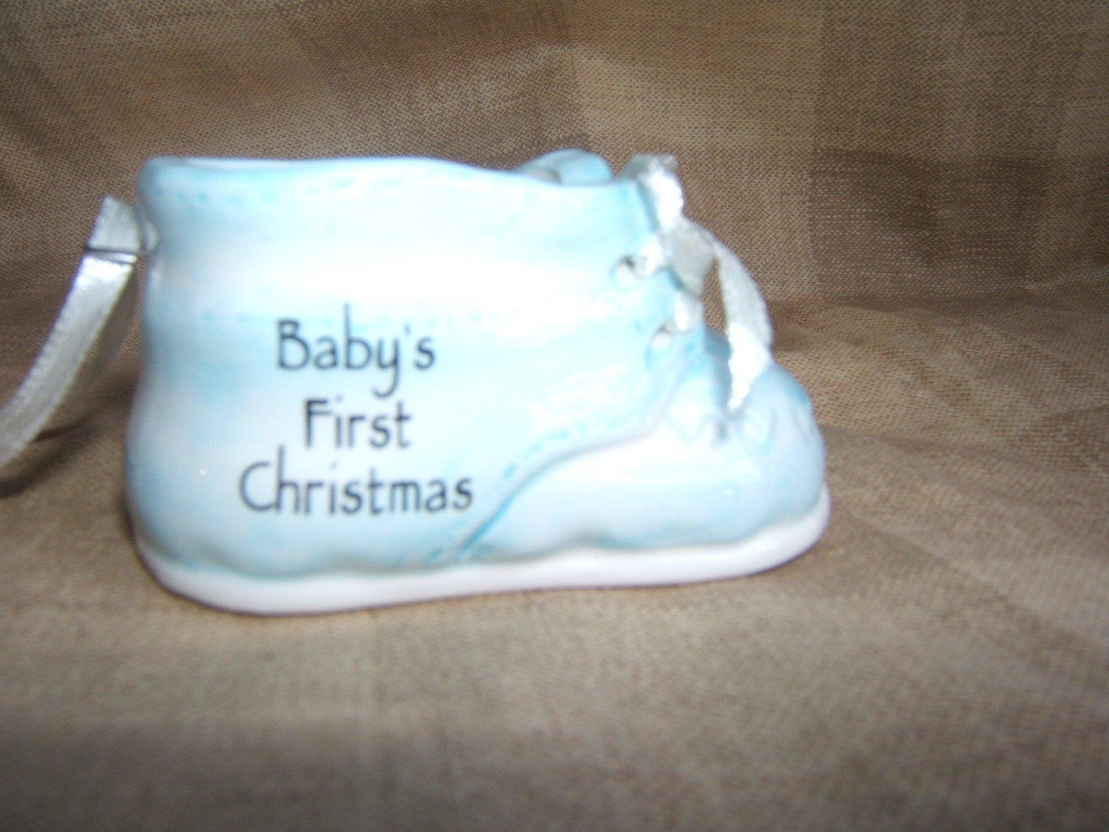 Ganz Christmas Ceramic Baby Shoe Ornament Blue
