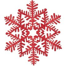 decoration 6.5 inches snowflake red glitter - $5.99