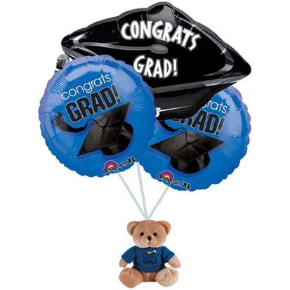 Graduation Blue Balloon Bouquet with Bear