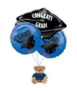 Graduation Blue Balloon Bouquet with Bear - $16.99