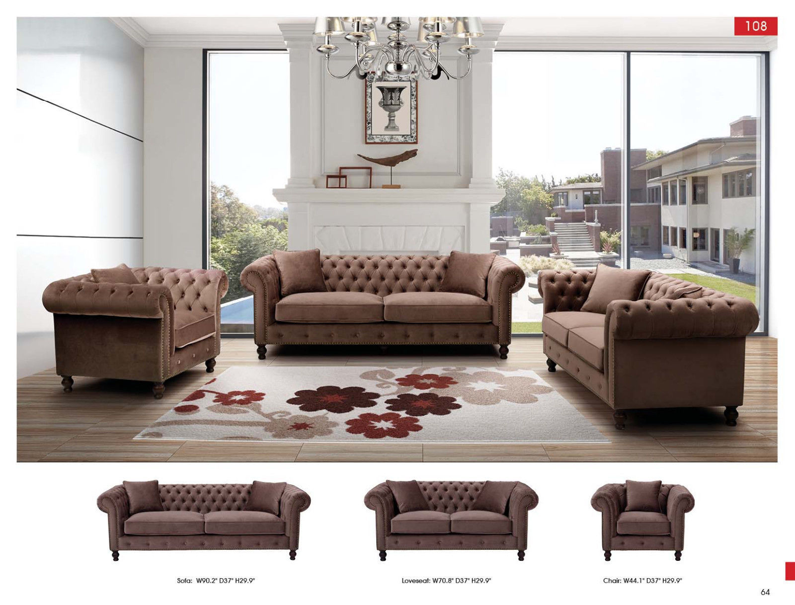 ESF 108 Brown Fabric Living Room Sofa Set 3pc. Traditional Upholstery Tufted