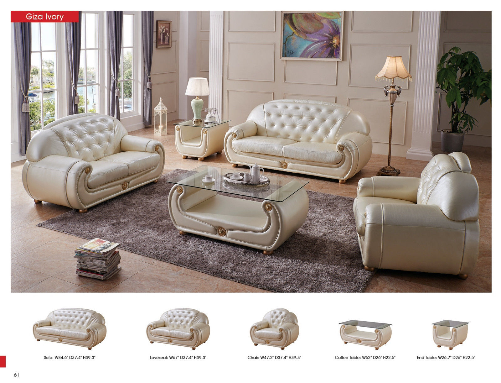 ESF Giza Leather Living Room Sofa Set 3pc. Beige Chic Contemporary Style