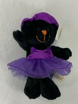 "Dan Dee Teddy Bear 8"" Black W/ Purple Witch Hat & Tutu Plush Halloween E... - $17.82"
