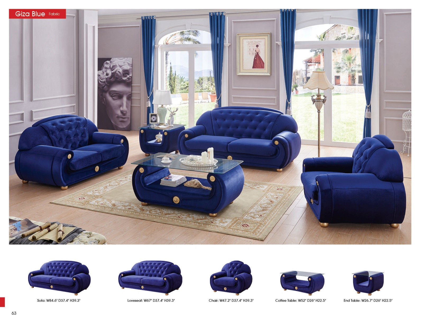 ESF Giza Microfiber Living Room Sofa Dark Blue Chic Contemporary Style