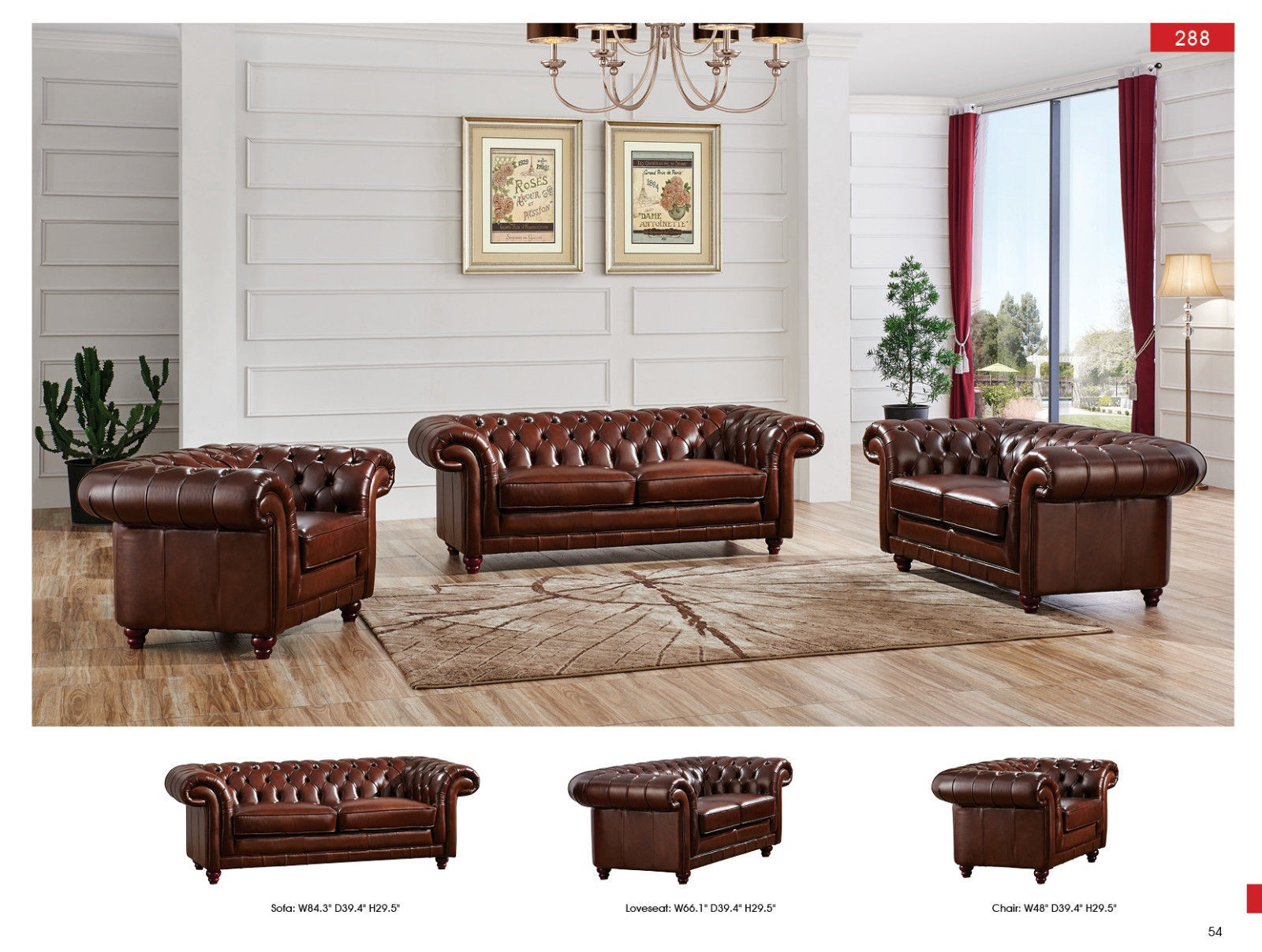 ESF 288 Italian Leather Living Room Sofa Set 3pc. Tufted Brown Traditional Style