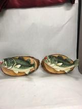 Pair Wall mounted Ceramic Fish signed Richard Lehmann Decoy 16 inch VINTAGE - $59.39