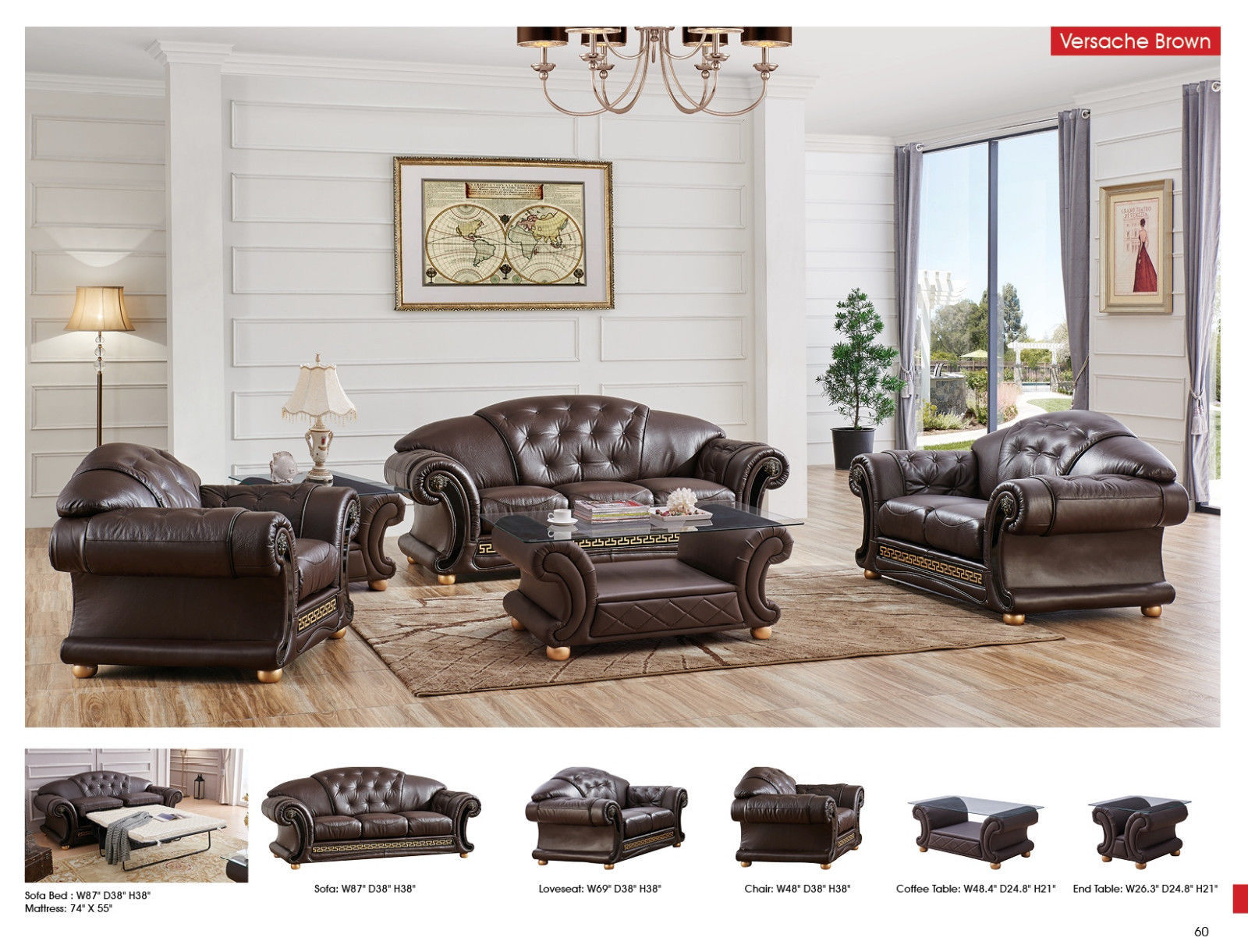 ESF Versachi Leather Living Room Sofa Set 3pc. Brown Classic Traditional Style