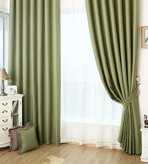 Forest green tab top blackout curtain handmade custom for Forest green curtains drapes