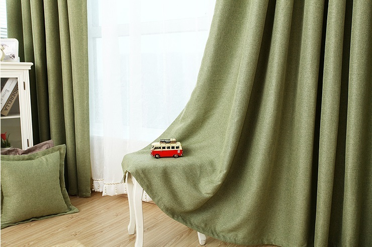 Forest green blackout curtain handmade custom drapery for Forest green curtains drapes