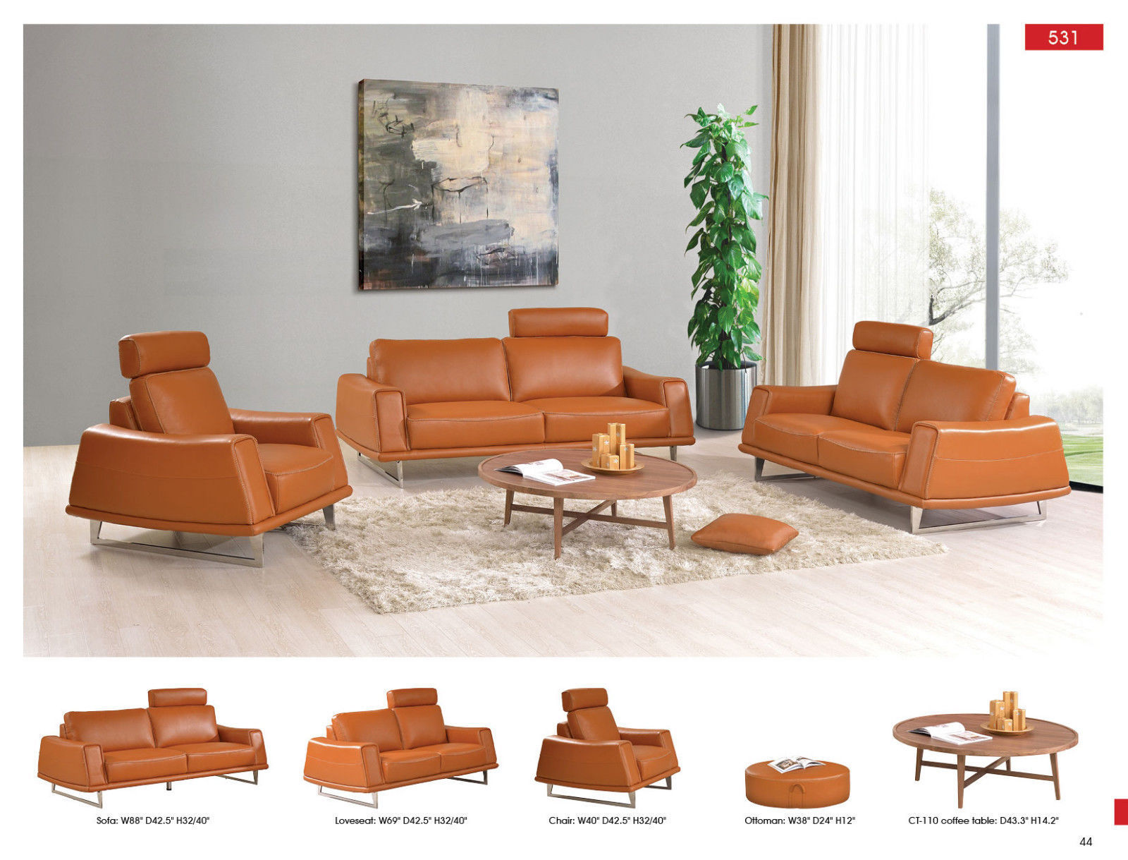ESF 531 Leather Living Room Sofa Set 3pc. Orange Thick Chic Contemporary Morden