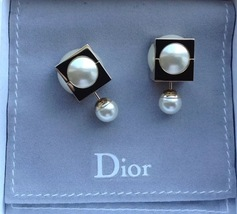 Authentic Christian Dior 2016 Mise En Dior Crystal Dangle Pearl Tribal Earrings