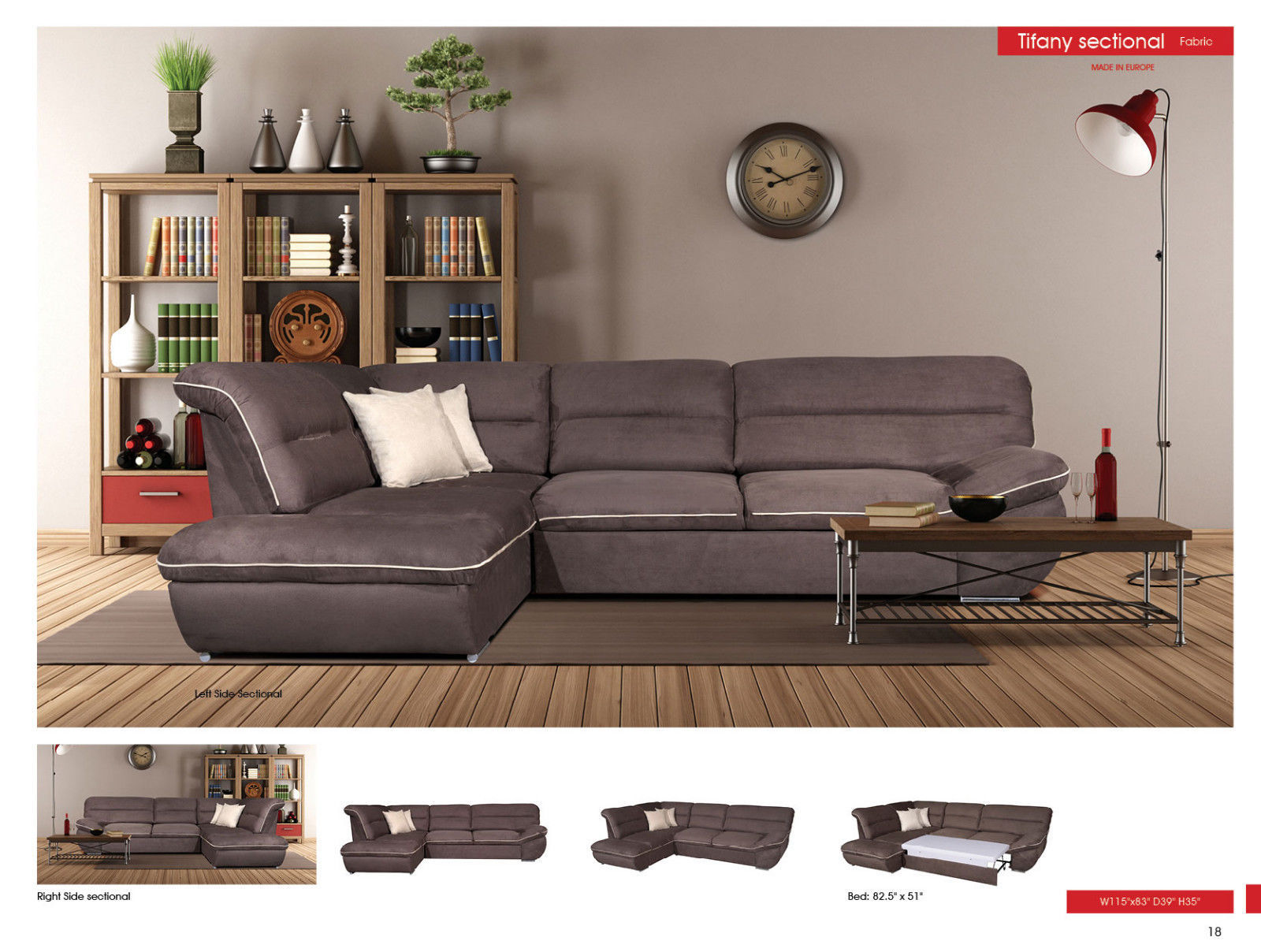 ESF Tiffany Fabric Living Room Sectional Modern Left Hand facing