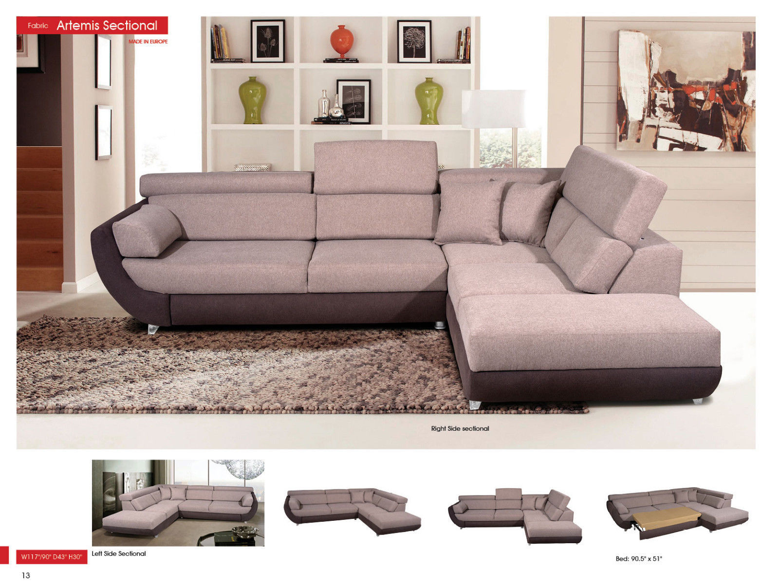ESF Artemis Fabric Living Room Sectional Sand Grey Modern Right Hand facing