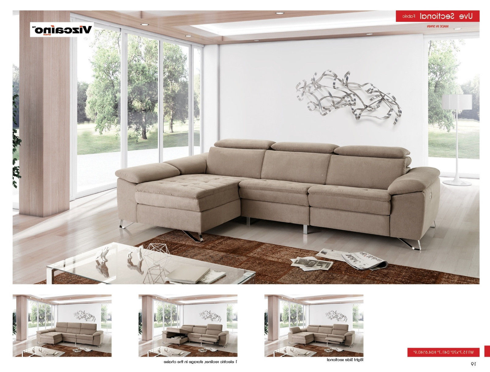 ESF UVe Sectional Sofa Chic Contemporary Style Left Hand facing